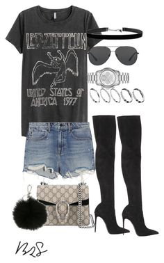 """""""#724"""" by blendingtwostyles ❤ liked on Polyvore featuring H&M, Alexander Wang, Michael Kors, Le Silla, Gucci, MICHAEL Michael Kors and ASOS"""