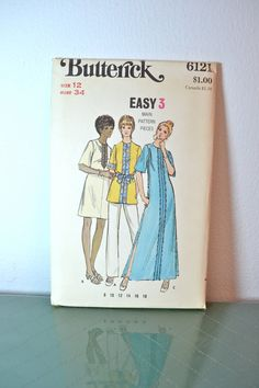 1970s Vintage UNCUT Butterick Pattern 6121 Misses Tunic Cover Up