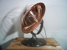 Converted-U-S-Made-Vintage-Copper-Heat-Lamp-Industrial-Steampunk-Table-Lamp