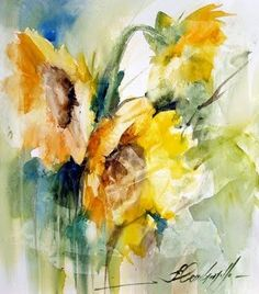 sunflower watercolor #watercolor jd