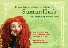 Princess MERIDA, Brave - Birthday Invitation- DIY Printable Invitation - By Cici and Bobo. $9.00, via Etsy.