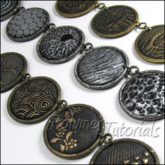 Polymer clay beads tutorial, Polymer clay necklace tutorial, Faux Metal Beads tutorial