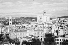 1960 girona  Barri Vell, la Catedral de Girona i el campanar de Sant Feliu i la torre de l'església de Sant Martí Sacosta