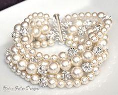 Bridal Pearl Bracelet Cuff 5 Strands Bling Wedding Jewelry - Vivian Feiler Designs | Wedding