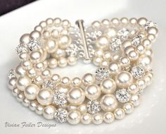 Bridal Pearl Bracelet Cuff 5 Strands Bling Wedding Jewelry - Vivian Feiler Designs | Wedding