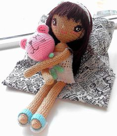 Just a girl & her bear handmade crochet dolls by TheGreenHouse222