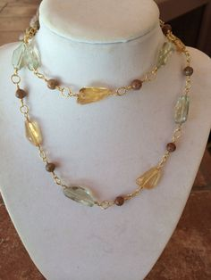 Gorgeous green amethyst, citrine, and autum Jasper necklace by RealBeadDesigns on Etsy