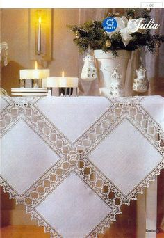Crochet Neckwarmer - Learn How To Croch 319 - Diy Crafts - Marecipe Crochet Quilt, Crochet Tablecloth, Linen Tablecloth, Filet Crochet, Crochet Motif, Crochet Doilies, Tablecloths, Diy Crafts Knitting, Diy Crafts Crochet