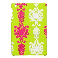 Hot pink & green neon damask floral pattern case for the iPad mini #ipad #ipadmini #damask #neon $39.95