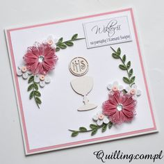 Na pamiątkę • Quilling.com.pl - kartki okolicznościowe & greeting cards Quilling Patterns, Quilling Designs, Quilled Creations, Baby Shower, Quilling Cards, First Communion, Confirmation, Christening, Paper Flowers