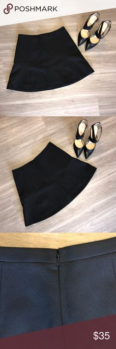 """J. Crew A-Line Skirt In """"like-new"""" condition, worn once, and has been dry cleaned. J.Crew Black A-line Mini Skirt. Never worn. Size 4. Fully Lined. Back zipper closure. Length is approximately 17"""". Waist is approximately 29"""" Material: 75% Polyester, 20% Viscose, 5% Spandex. Very little stretch.  🚫Trades/Holds🚫 🚫Modeling🚫 🚫Will NOT accept lowball offers!🚫 📦Ships same day if PO is open📦 J. Crew Skirts Mini"""