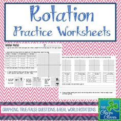 This product provides practice with rotations.  Students will have an opportunity to define rotations in their own words.  They are guided to explain what happens when a rotation is completed and to explain whether or not the images are congruent to each other.  Students are asked to graph the pre-image and three additional images (90 degree clockwise, 90 degree counter clockwise and 180 degree rotation) on the same coordinate graph.
