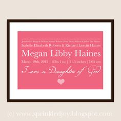 BIrth Statistics and Family History/Genealogy PRINT - Customizable 8x10 Print in Many Colors on Etsy, $16.95