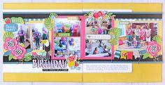 Echo Park Summer Fun Happy Birthday Scrapbook Layout by Jana Eubank.