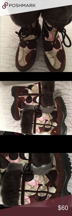 Coach boots w/fur trim Pre-owned Coach boots with a funky nylon print and rugged sole. Coach Shoes Winter & Rain Boots