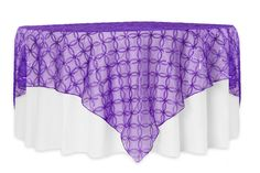 """Circle Sequin Table Overlay 85""""x85"""" Square - Purple ● $21.99  ● Available from www.cvlinens.com"""