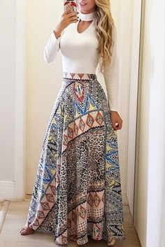 Ethnic Print High Waist Casual Skirt by laviye - 2019 Dresses, Skirt, Shirts & Trend Fashion, Look Fashion, Womens Fashion, Classic Fashion, Fashion Fall, Fashion Ideas, Fashion Tips, Cute Skirts, Casual Skirts