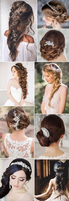 gorgeous wedding hairstyles with bridal headpieces and wedding hair accessories: