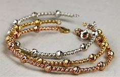 Tri Color Italian Laser Cut Gold Bangles    Minkjewelers@gmail.com