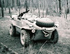 """Type 166 VW """"Schwimmwagen"""" was an amphibious vehicle used extensively by the German Wehrmacht and the Waffen-SS during the Second World War. All Schwimmwagens were also four wheel drive."""