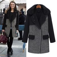 2b125441d8d1 NEW women fashion woolen loose overcoat cardigan autumn winter trench long  sleeve patchwork womens coat big