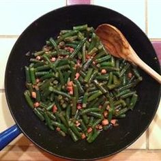 Yummiest Green Beans Ever Allrecipes.com - oil, onion, turkey ham, red wine vin, honey mustard, salt