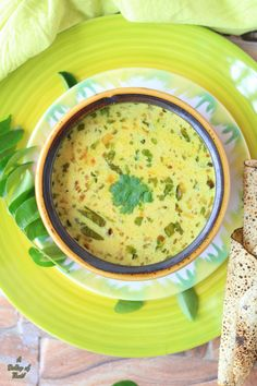 A Dollop of that!: Parsi style Dahi ni Kadhi ne Khichri~(Yogurt soup with lentil rice) Lunch Recipes, New Recipes, Lentil Soup, Lentils, Cheeseburger Chowder, Indian Food Recipes, Yogurt, Rice, Gravy