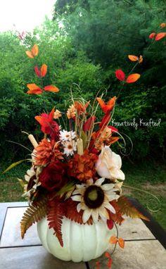 Fall Neutral Colors White Pumpkin Centerpiece от KreativelyKrafted