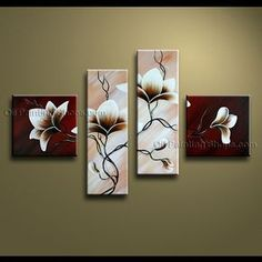 Beautiful Contemporary Wall Art Hand-Painted Art Paintings For Bath Room Tulip… Multi Canvas Painting, Modern Oil Painting, Hand Painting Art, Art Paintings, Modern Canvas Art, Contemporary Wall Art, Panel Wall Art, Canvas Wall Art, Flower Artwork