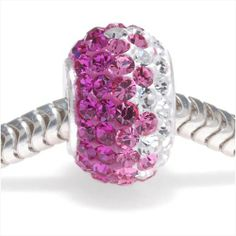 STERLING SILVER CRYSTAL PAVE LARGE HOLE EUROPEAN STYLE BEAD 12X75MM FUCHSIA RAINBOW from beadaholique.com