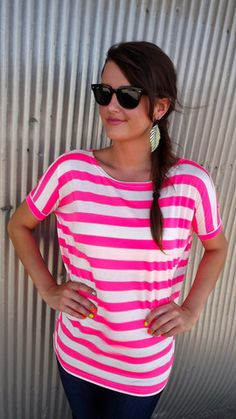 Hot Pink Striped Piko