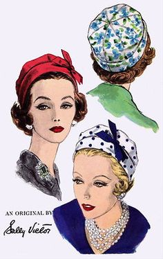 Vintage Sally Victor HAT Millinery Fabric Material Sewing Sew Pattern 9922 Like red velvet beret Moda Vintage, Vintage Vogue, Vintage Fashion, Vintage Hats, 1950s Fashion, Hat Patterns To Sew, Vintage Dress Patterns, Sew Pattern, Fashion Illustration Vintage