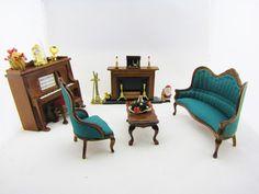 Dollhouse Living Room Parlor Sitting Room Furniture Victorian Living Room Set…