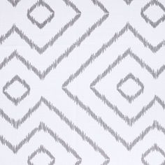 A pretty, geometric ikat inspired print in soft medium grey on white.Perfect for drapery, roman blinds, pillows, cushions, shower curtains and some light to med
