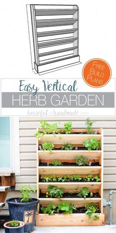 DIY Vertical Garden with Drip Watering System - - Create a DIY vertical garden for the perfect small space garden solution. This cedar vertical garden has a lot of space to grow your favorite herbs and plants. And the built in drip watering system. Diy Herb Garden, Easy Garden, Herbs Garden, Wall Herb Garden Indoor, Balcony Garden, Indoor Herbs, Garden Gazebo, Palette Herb Garden, Garden Walls
