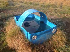 Water barrel, turned drinking trough.