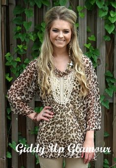 Crochet Concepts Leopard Top with Crochet Details | $34.95 | www.gugonline.com