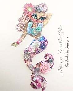 Mixed media and Button art Mermaid