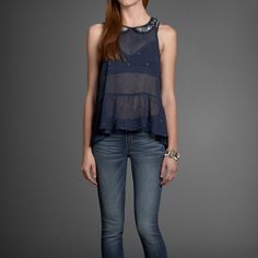 Womens Camille Embellished Collar Shirt | Womens Fashion Tops | Abercrombie.com