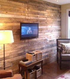 Holz Paletten Möbel Selbst Basteln DIY Wanddeko Fernseher
