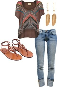spring fashion outfit in boho bohemian hippie gypsy style. Clothing combination.