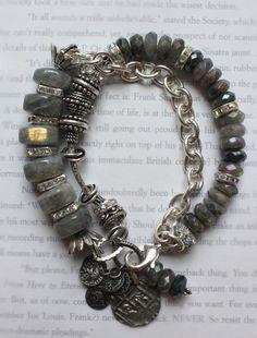 chunky charm bracelet, multi strand bracelet, labradorite bracelet, chunky chain bracelet, coin bracelet