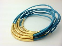 Turquoise Leather Bangles with gold