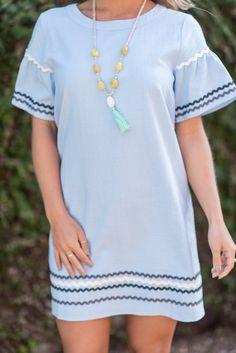Nautical Experiences Dress, Light Blue - The Mint Julep Boutique