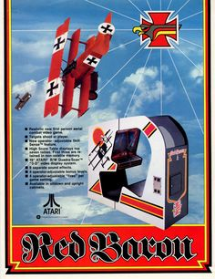 The Arcade Flyer Archive - Video Game Flyers: Red Baron, Atari, Inc. Archive Video, Classic Video Games, School Videos, Vintage Games, Video Game Console, Pinball, Arcade Games, Games To Play, Baron