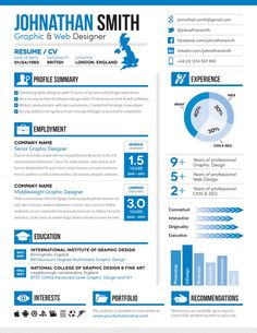 Infographic-style resume with blue accents
