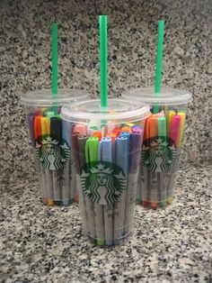 "Teacher Gifts: The cups include gift cards to Starbucks and a note with the remarks, ""A little something to keep you 'sharp' over the 
