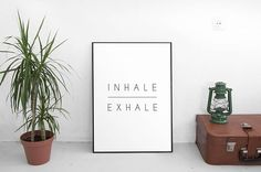 Wall Art Print, Instant Download, Printable Art, Printable Quotes, Home Decor, Yoga,Motivational, Printable Wall Art Inhale Exhale Print