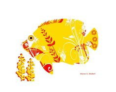 "Stylized Fancy Fish Folk Art - Giclee Print - 8 x 10-inch - FREE SHIPPING. Stylized fancy fish digital folk art. Embellished with vector graphic flowers in bold RED. This is a digital artwork in an abstract realism style. Entitled, ""Fancy Fish #2"". Inspired by living on the largest lake in Texas, Lake Texoma,where I go for relaxation and inspiration for my art and writing. Print type: Giclee Paper size: 8.5 x 11-inches Image size: 8 x 10-inches Paper type: HP Premium Soft Gloss Mat and…"