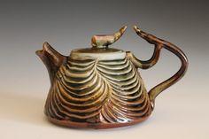 Desert Rose Teapot, Hand Carved Porcelain Teapot (Looks sort of creepy!)